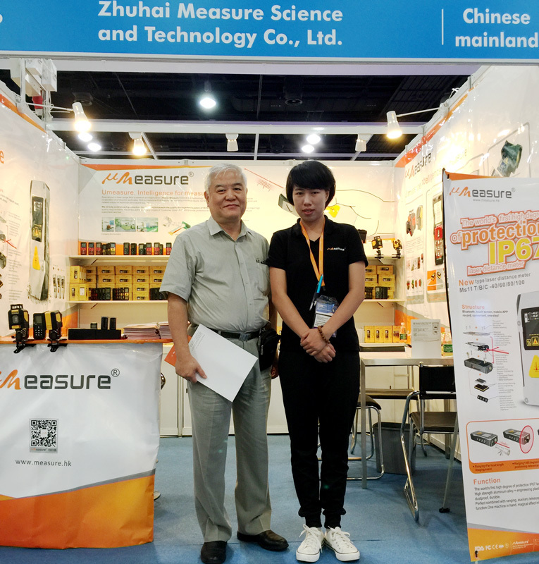 We showed  laser distance meter in Hongkong Electronics Fair(HKTDC) 2017